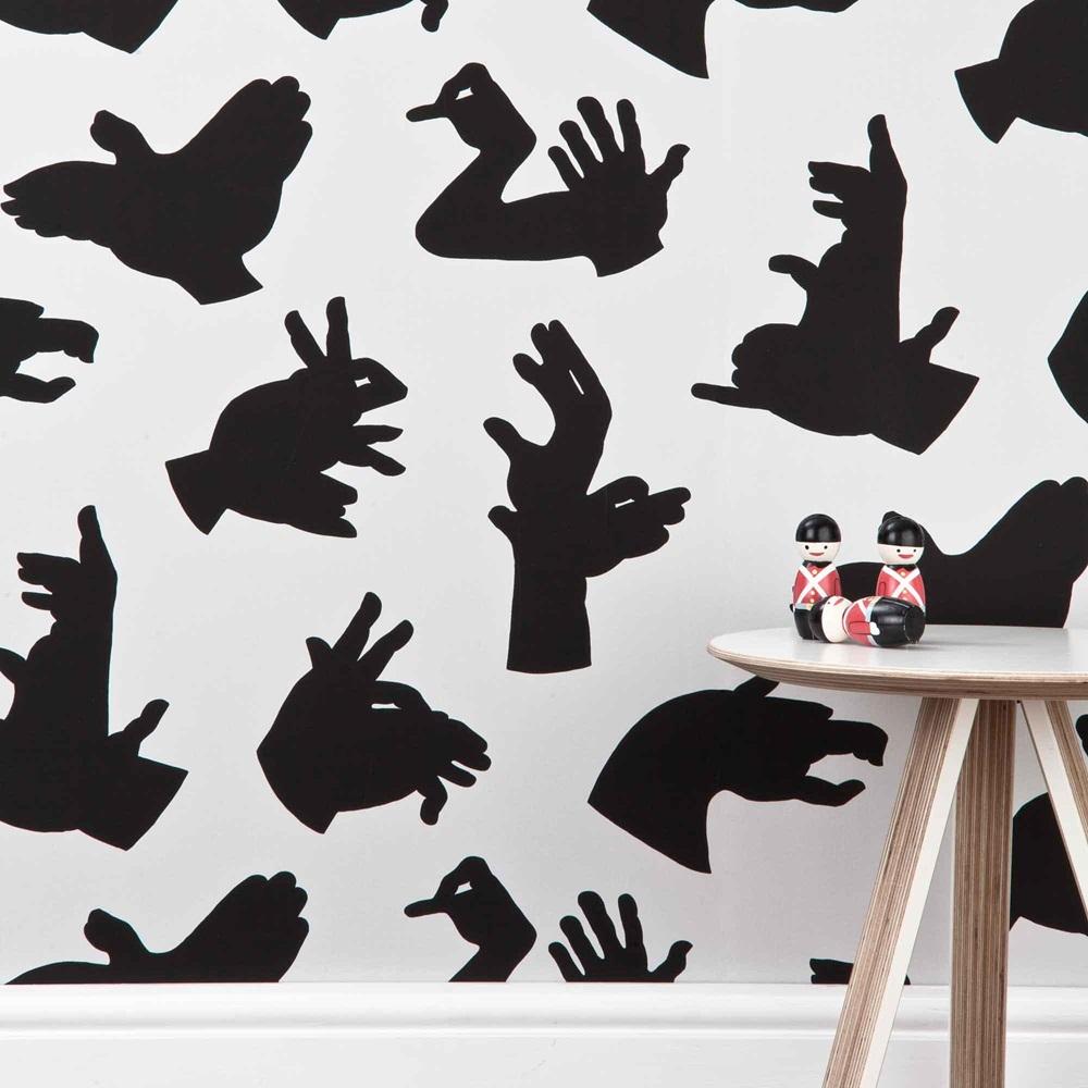 Designer kids wallpaper 39 hand made 39 in grey bedroom for Designer wallpaper brands