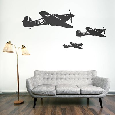 HAWKER HURRICANE WALL STICKER in Black