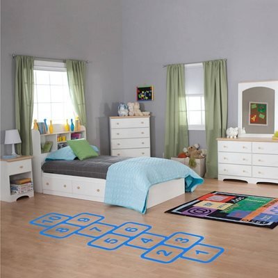 HOPSCOTCH VINYL FLOOR STICKER in Blue