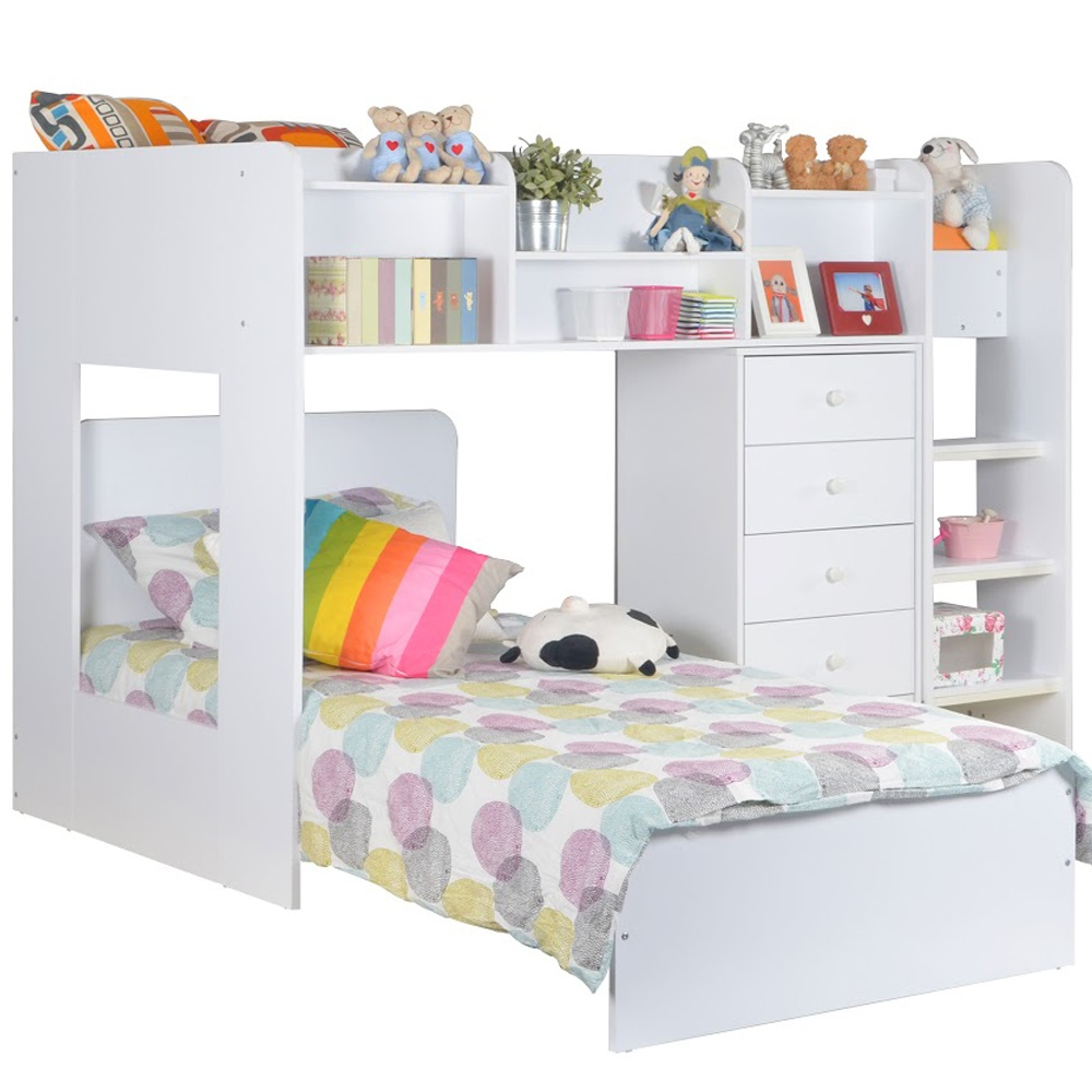 Kids Wizard L Shaped Bunk Bed In White Flair Furniture Cuckooland