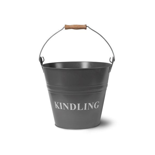Kindling storage fireside bucket in Charcoal