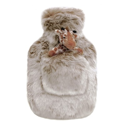 LATTE Faux Fur Hot Water Bottle by Helen Moore