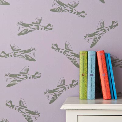 DESIGNER KIDS WALLPAPER- 'Spitfire' in Lilac and Green