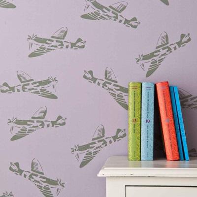 DESIGNER KIDS WALLPAPER- 'Spitfire' in Lilac and Green