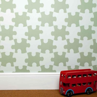 Designer Kids Wallpaper- 'It's a Puzzle' in Light Green
