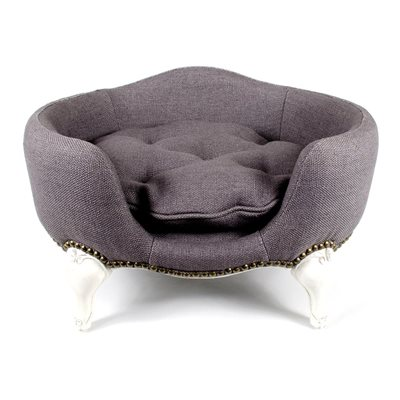 ANTOINETTE LUXURY DOG BED in Stonewash Burlap Grey