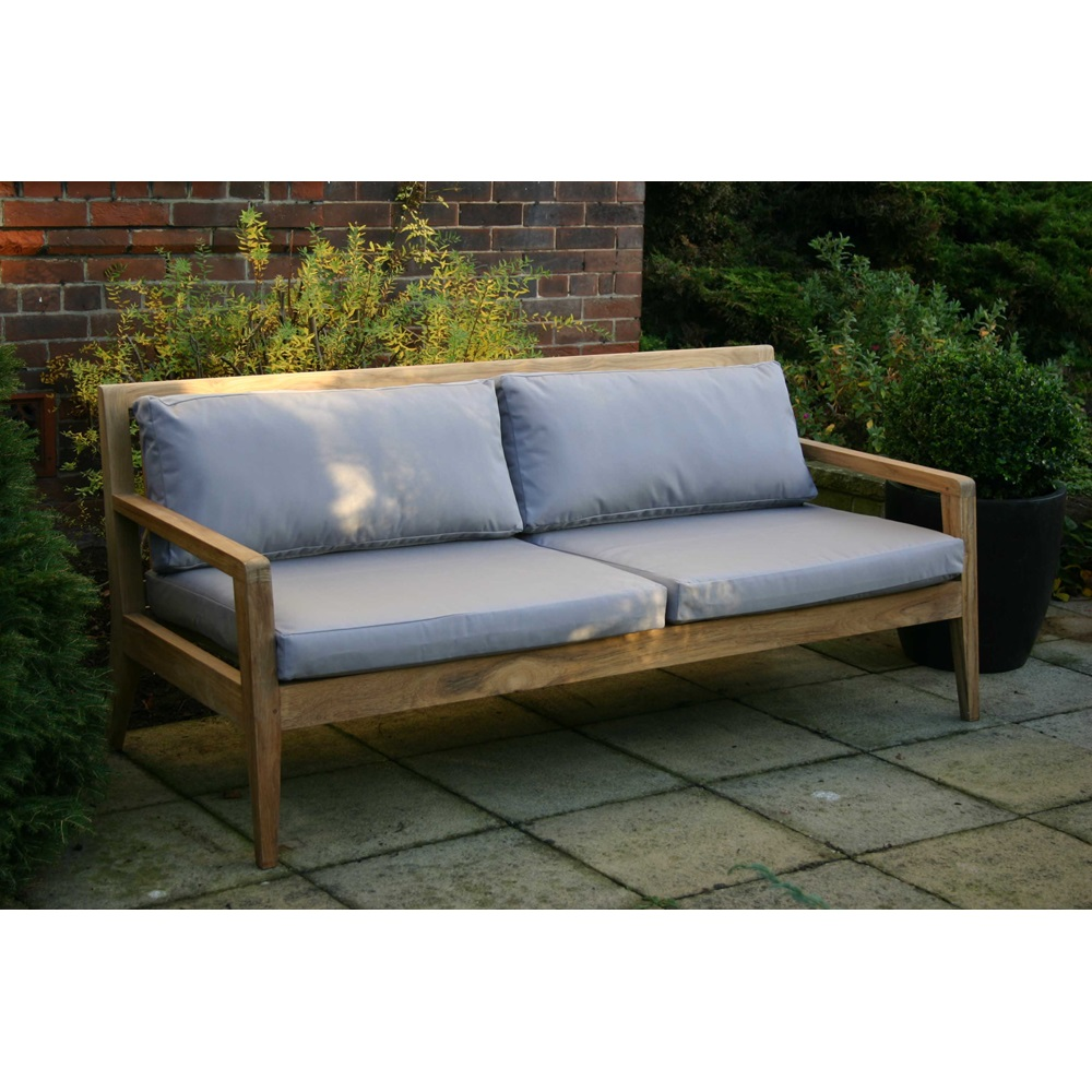 Menton luxury teak sofa bench with grey cushions garden for Outdoor furniture benches