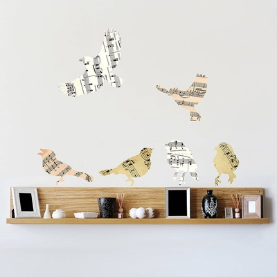 MUSIC CHRISTMAS BIRD WALL STICKERS