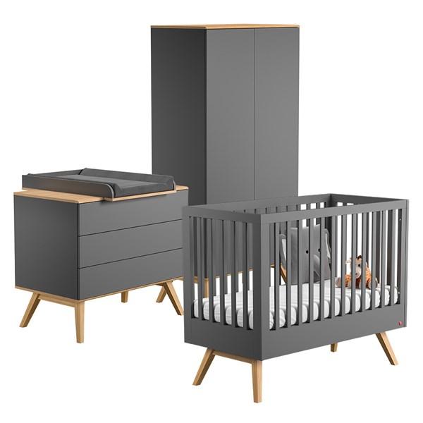 Nature Cot Bed 3 Piece Nursery Set in Dark Grey & Oak