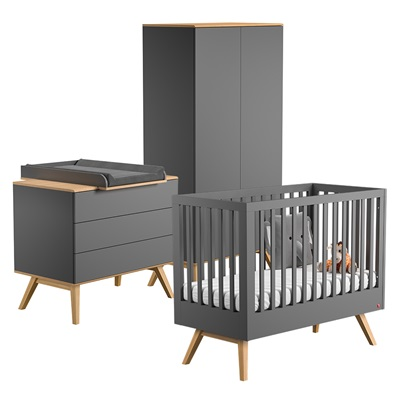 VOX NATURE COT BED 3 PIECE NURSERY SET in Dark Grey & Oak