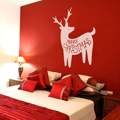 MERRY CHRISTMAS REINDEER WALL STICKER in White