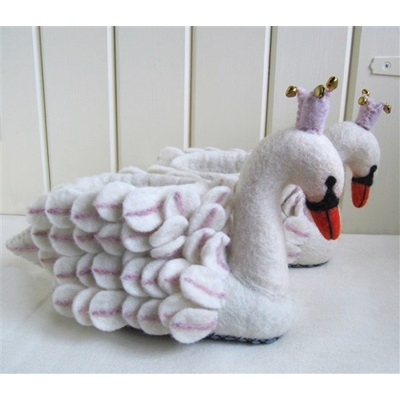 ADULT'S Animal Slippers in Odette Swan Design