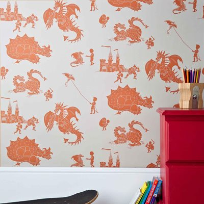 DESIGNER KIDS WALLPAPER- 'ere-be-dragons' in Orange