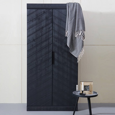 CONNECT 2 Door Wardrobe in Black Herringbone Design