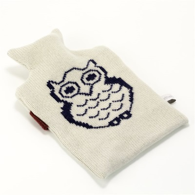 KNITTED LAMBSWOOL HOT WATER BOTTLE COVER Owl