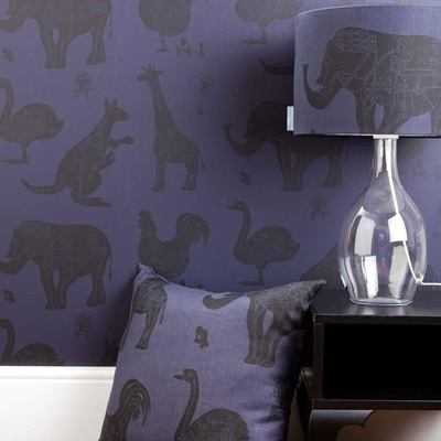 DESIGNER KIDS WALLPAPER- 'How it Works' in Purple