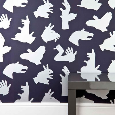 DESIGNER KIDS WALLPAPER- 'Hand Made' in Purple