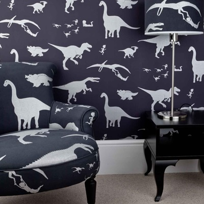 DESIGNER KIDS WALLPAPER- 'D'ya-think-e-saurus' in Purple