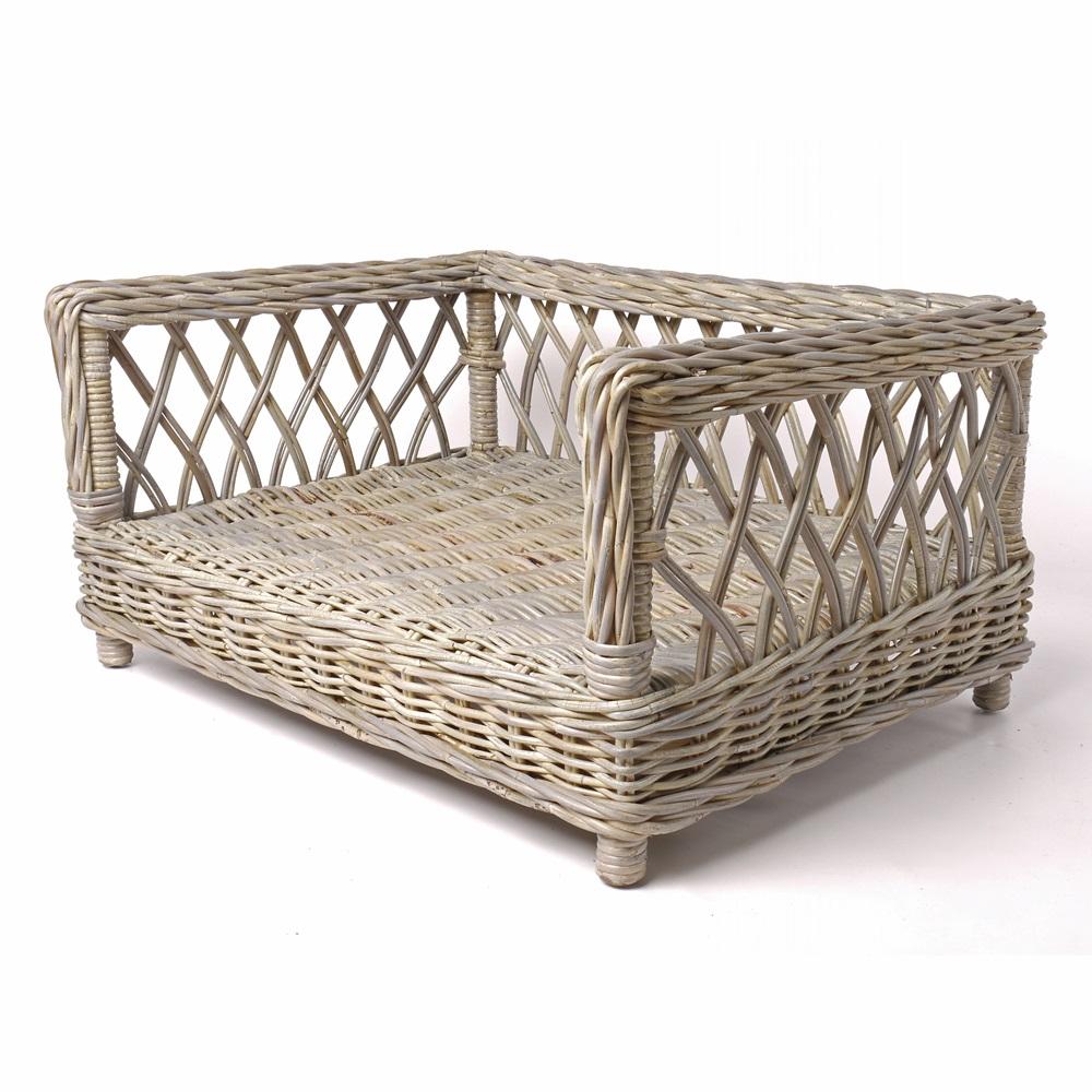 raised rattan dog bed with dotty taupe mattress charley chau