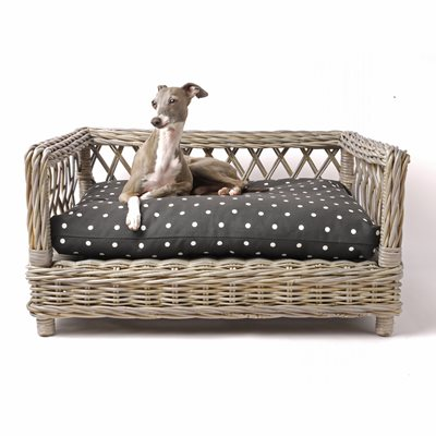 RAISED RATTAN DOG BED with Dotty Charcoal Mattress