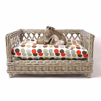 RAISED RATTAN DOG BED with Great Dot Mattress