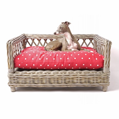 RAISED RATTAN DOG BED with Dotty Raspberry Mattress