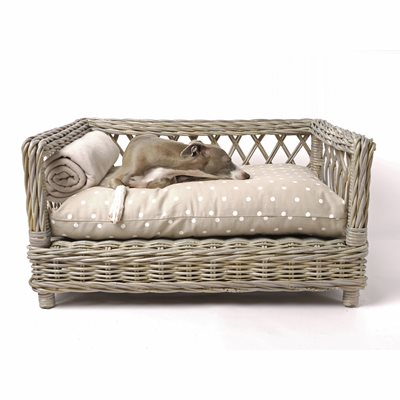 RAISED RATTAN DOG BED with Dotty Taupe Mattress