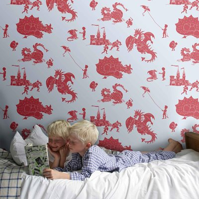 DESIGNER KIDS WALLPAPER- 'ere-be-dragons' in Red