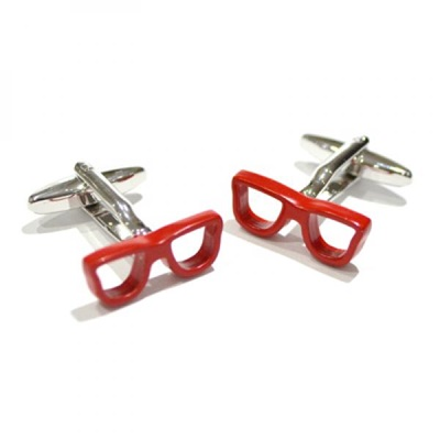 MENS CUFFLINKS in Geeky Red Glasses Design