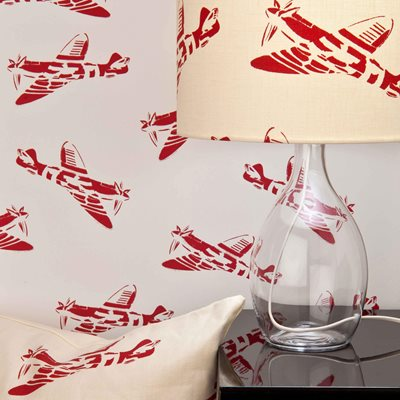 Designer Kids Wallpaper- 'Spitfire' in White & Red