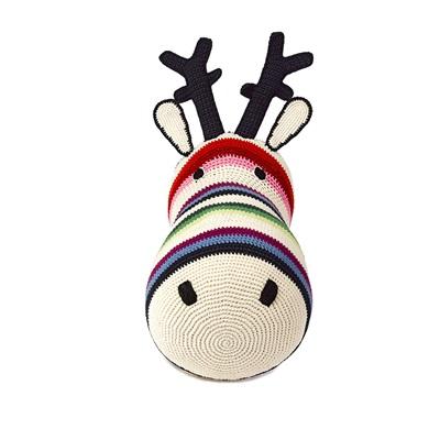 CROCHET Reindeer Head Wall Hanging in Mix Stripe