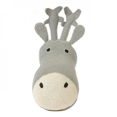 CROCHET Reindeer Head Wall Hanging in Silver