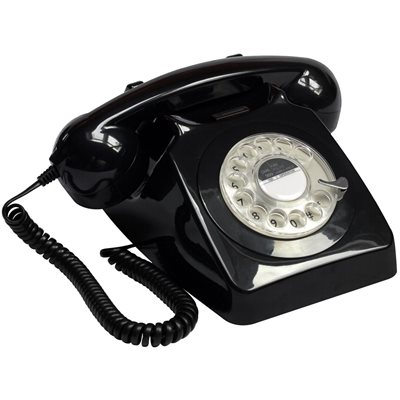 Image of 746 RETRO ROTARY DIAL PHONE in Black