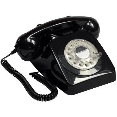 GPO 746 Retro Rotary Dial Phone in Black