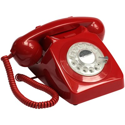 746 RETRO ROTARY DIAL PHONE in Red