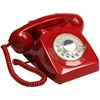 Retro Telephone in Red with Rotary Dialing Function