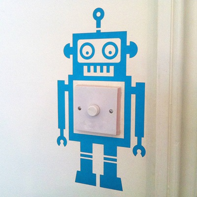 ROBOT LIGHT SWITCH WALL STICKER in Blue
