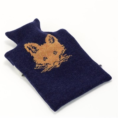KNITTED LAMBSWOOL HOT WATER BOTTLE COVER Rusty Fox