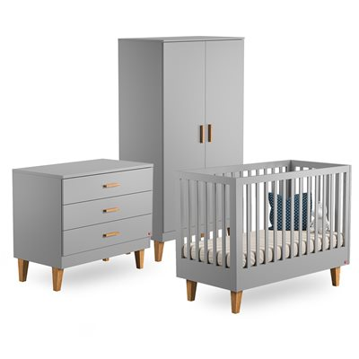 VOX LOUNGE COT BED 3 PIECE NURSERY SET in Light Grey & Oak