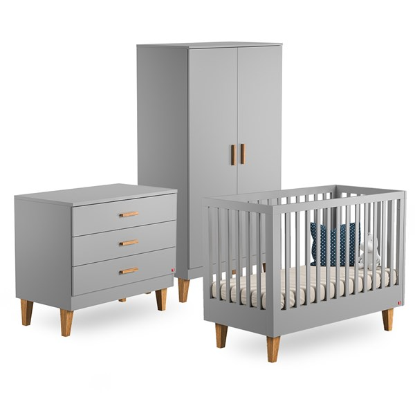 Lounge Cot 3 Piece Nursery Set in Light Grey & Oak
