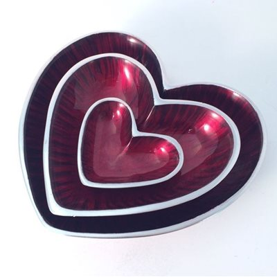 HEART DISH in Red and Silver