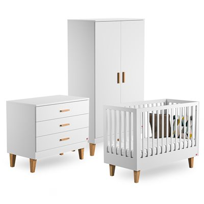 VOX LOUNGE COT BED 3 PIECE NURSERY SET in White & Oak