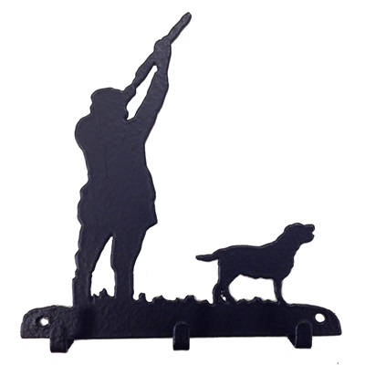 Key Rack with 3 Hooks in Shooting Labrador Design