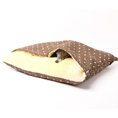 SNUGGLE DOG BED in Dotty Chocolate Design