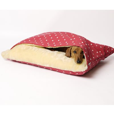 SNUGGLE DOG BED in Dotty Raspberry Design