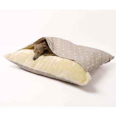 SNUGGLE DOG BED in Dotty Taupe Design