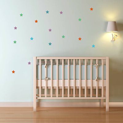 STAR WALL STICKERS in Green, Mauve, Orange & Blue