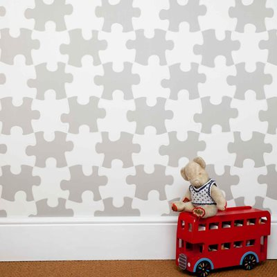 DESIGNER KIDS WALLPAPER- 'It's a Puzzle' in Stone
