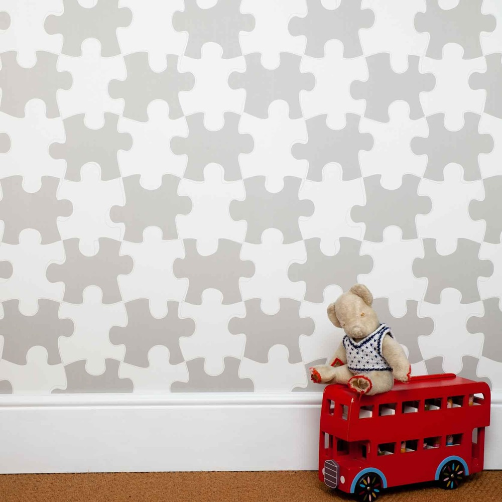 Designer Kids Wallpaper- 'It's A Puzzle' In Stone