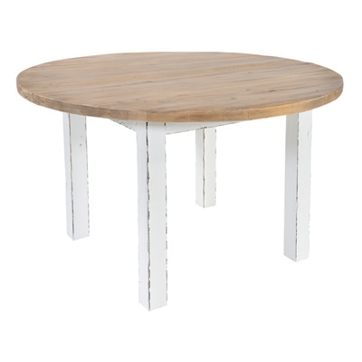 ROUND DINING TABLE in Distressed Paint Finish